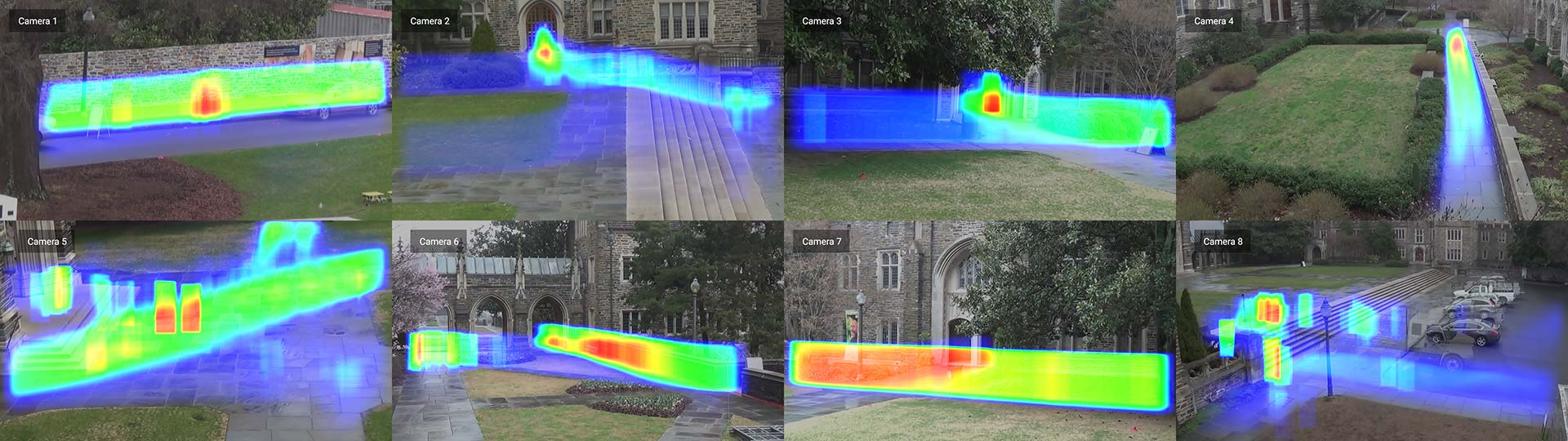 Duke MTMC pedestrian detection saliency maps for 8 cameras deployed on campus © Adam Harvey / MegaPixels.cc